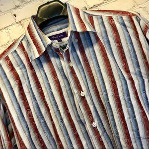 Alan Flusser Red White Blue XL Dress Shirt